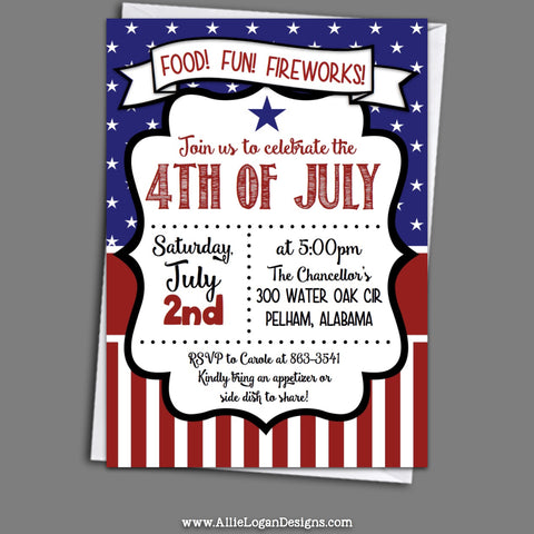 4th Of July Invitations - Uncle Sam's Party