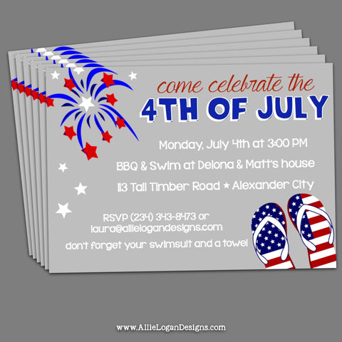 4th Of July Invitations - Party Time Fun