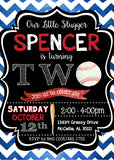 Baseball Chevron Watercolor Invitation