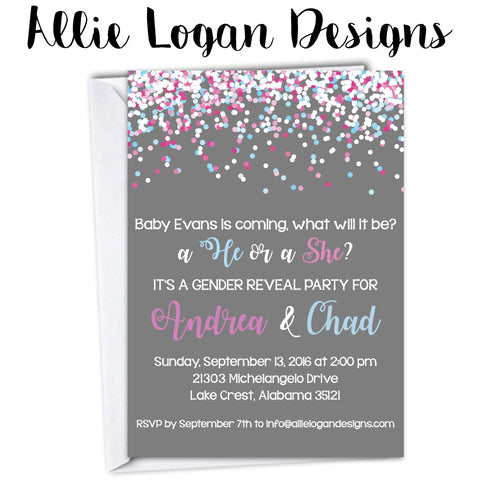 Confetti-Adorned Gender Reveal or Baby Shower Invitation