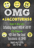 Emoji Chalkboard Birthday Invitation