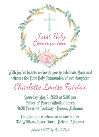 First Communion Baptism Christening Personalized Invitation