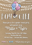 Gender Reveal Invitation with Kraft paper-look