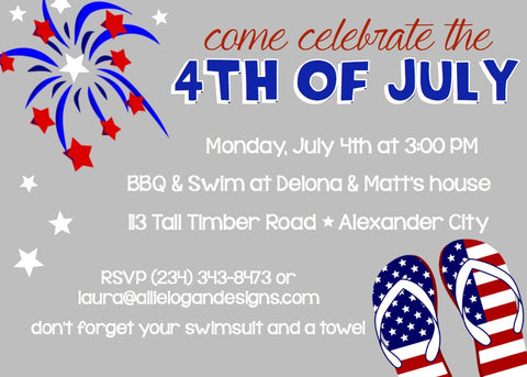 4th of july invitations party time fun