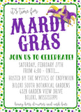 Mardi Gras Court Jester Custom Invitation
