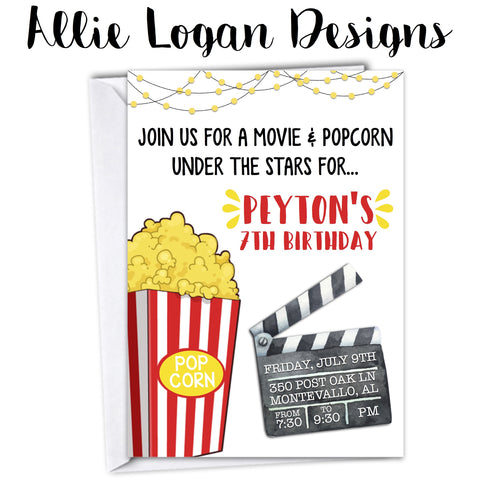 Movie Night with Popcorn Invitation