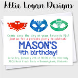 PJ Masks-Inspired Birthday Invitations