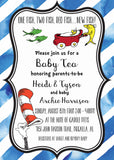 Seuss Inspired Red Fish New Fish Baby Shower Invitation