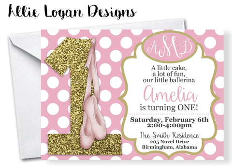 Ballet Themed Birthday Invitations