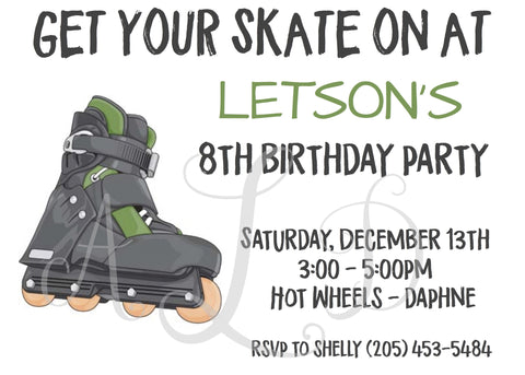 Rollerblading Roller Skating Birthday Invitations