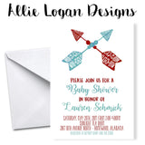 Boho Arrows Rustic-Inspired Baby Shower Invitation