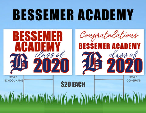 Bessemer Academy Senior Shout Out Yard Sign