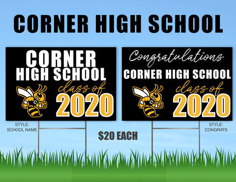 Corner High School Senior Shout Out Yard Sign