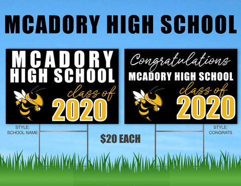 McAdory High School Senior Shout Out Yard Sign