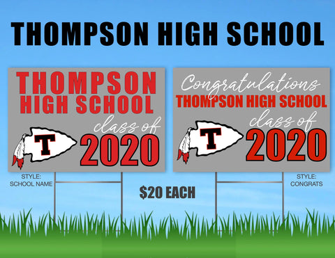 Thompson High School Senior Shout Out Yard Sign