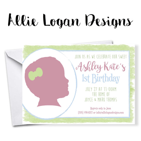 Your Child's Silhouette on Watercolor-Inspired Invitation