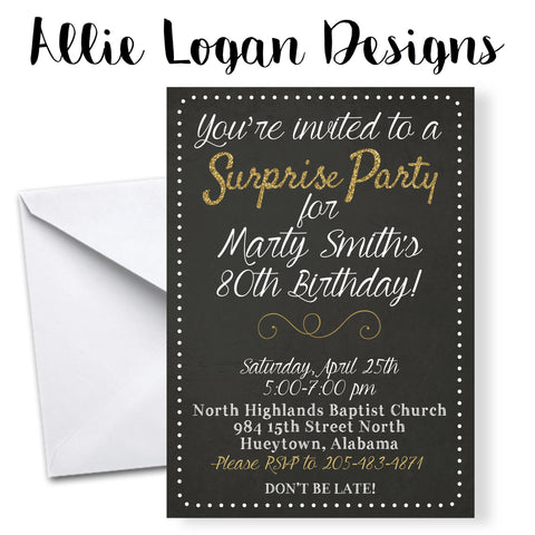 Surprise Birthday Invitations - Swirled Glitter Font