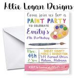 Art / Paint Party Birthday Invitations