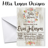 Chic Rustic-Inspired Baby Shower Invitation