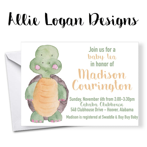 Watercolor-Inspired Baby Turtle Baby Shower Invitation