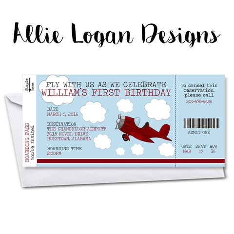 Airplane or Train (not pictured) Boarding Pass Birthday Invitation