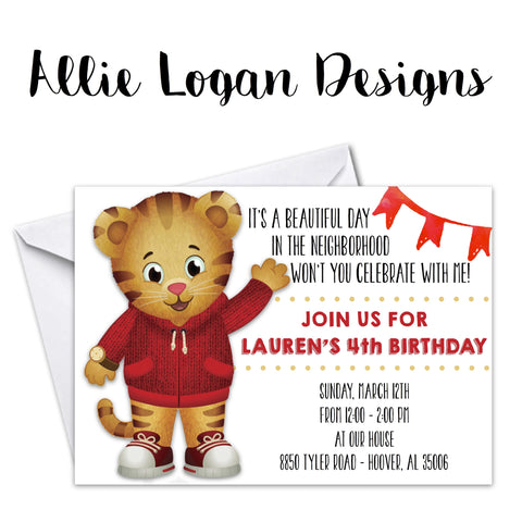 Daniel Tiger - themed Birthday Invitations