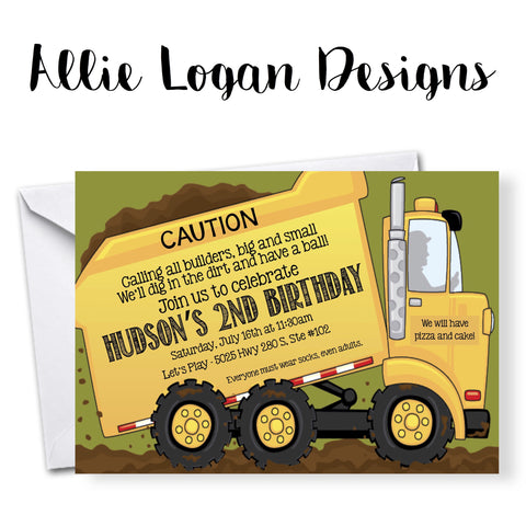 Dump Truck Birthday Invitations