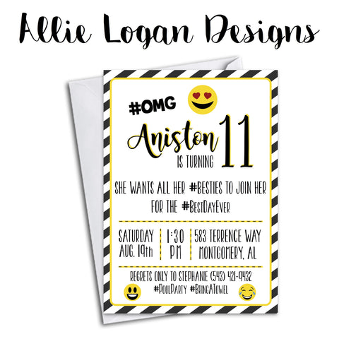 Emoji Striped Birthday Invitation