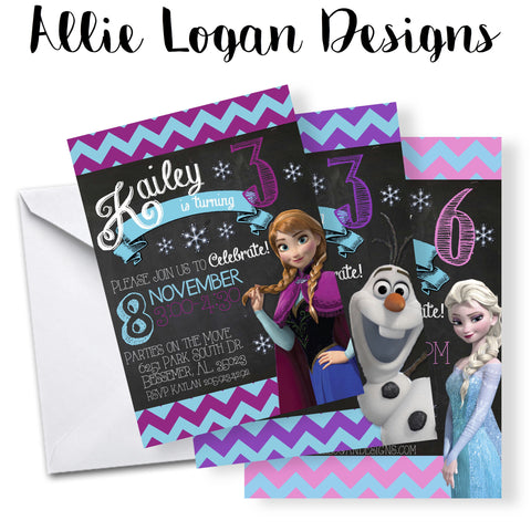 Frozen Birthday Invitation - You Choose: Elsa, Anna, or Olaf!