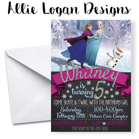Frozen-themed Ice Skating Invitation