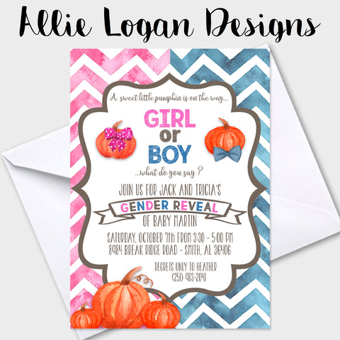 Gender Reveal Invitation Featuring Watercolor Pumpkins
