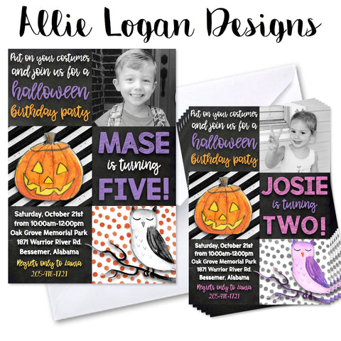 Halloween Watercolor Custom Invitation