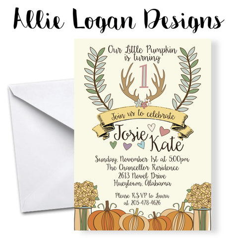 Fall Harvest Themed Birthday Invitations with Pumpkins