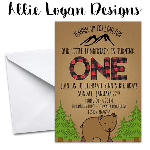 Lumberjack / Flannel Birthday Party Invitation