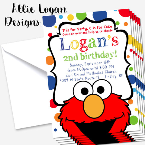 Sesame Street Inspired Elmo Invitation