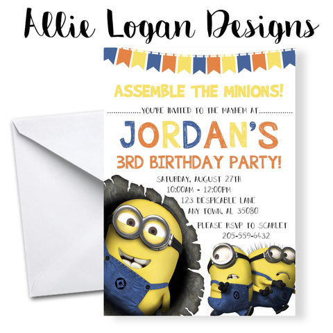 Minions Themed Birthday Invitations