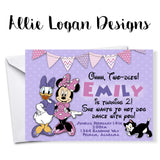 Minnie Mouse and Daisy Duck Birthday Invitations