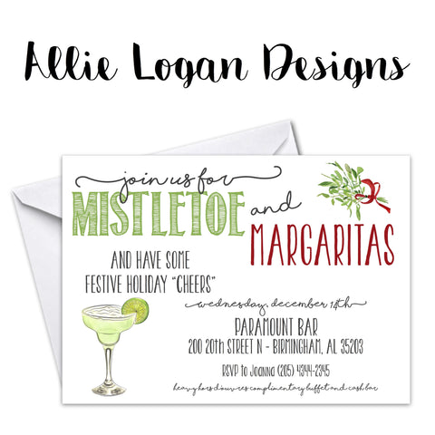 Mistletoe And Margaritas Holiday Party Invitation