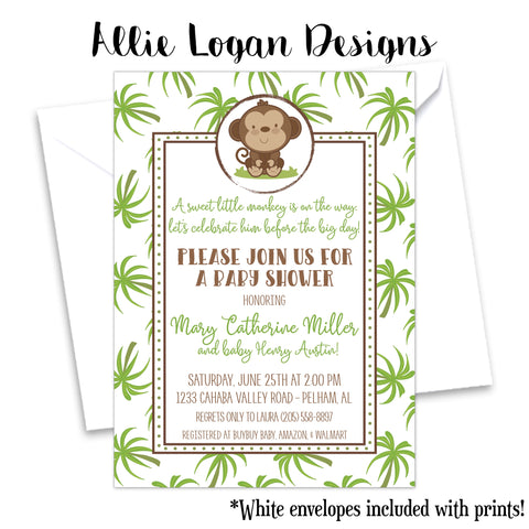 Tropical Monkey Baby Shower Invitation