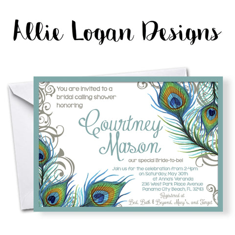 Bridal Shower or Wedding Party Invitation - Peacock Feathers