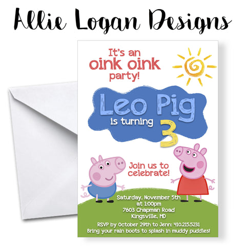 Peppa Pig Custom Birthday Invitations