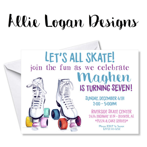 Girl's Roller Skating Birthday Invitations