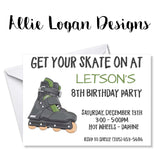 Rollerblading / Roller Skating Birthday Invitations