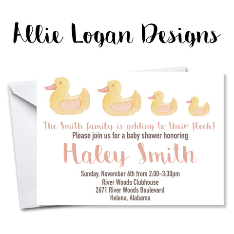 Flock of Rubber Ducks Baby Shower Invitation