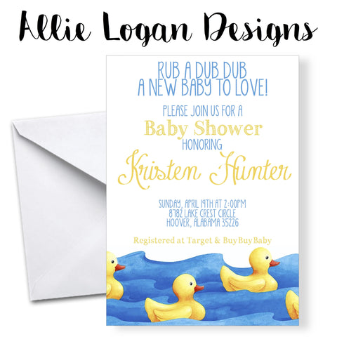 Rubber Ducky Watercolor Baby Shower Invitation