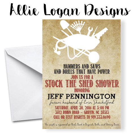 Couples' Stock The Shed Wedding Shower Invitations