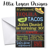 Tequila and Tacos Adult Party Invitations