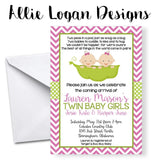 Peas In A Pod - Twin Baby Girls Shower Invitation