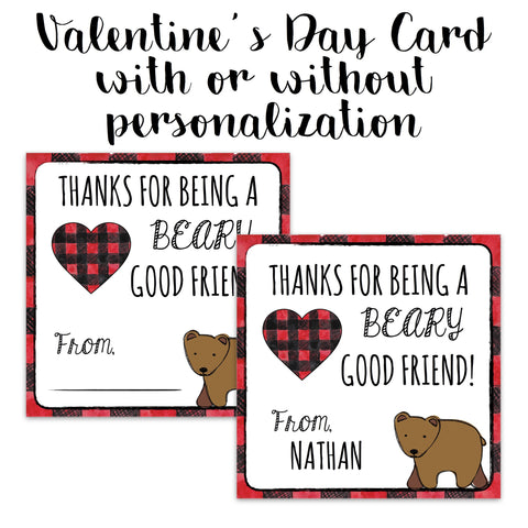 Buffalo Plaid Valentine's Card - Beary Good Friend
