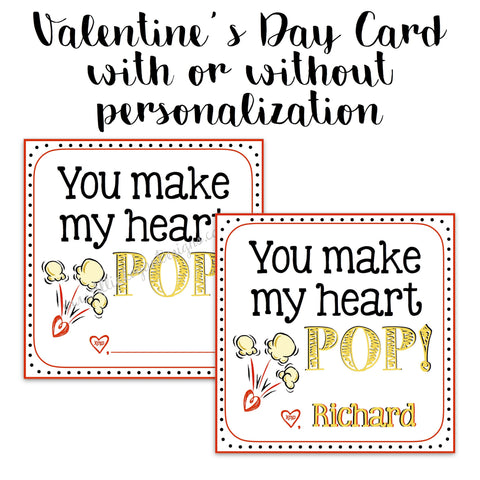 Popcorn-Themed Valentine Card